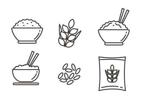 Set of rice vector illustration. Set of rice icons with line design 向量圖像