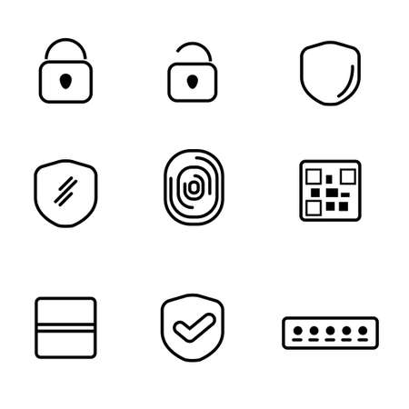Security and lock related icon line design with black and white color
