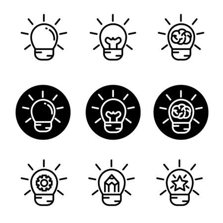 Set of bulb vector illustration with nine design suitable for idea/creativity related icon,