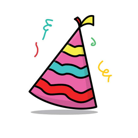 Birthday hat vector illustration with colorful design isolated on white background Vettoriali