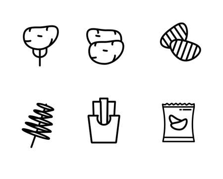 Set of potato vector illustration with simple line design such as potato, french fries and chips suitable for icon or doodle