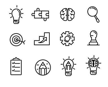 Idea, creativity and strategy related icon line design with black color suitable for modern interface or graphic design, suitable for doodle too