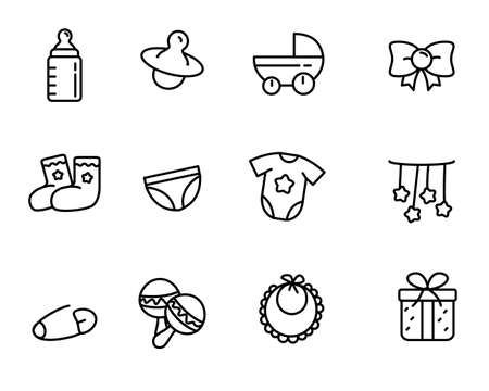 Set of baby tools related vector illustration with simple line design suitable for icon or doodle Ilustracja