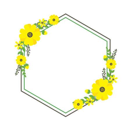 Yellow flower frame vector illustration suitable for summer template design or  wedding invitation design
