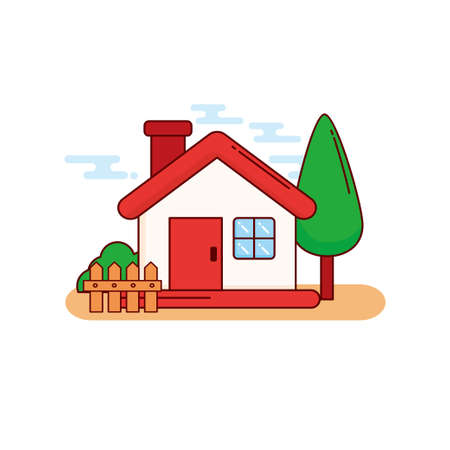 House, fence, and tree vector illustration with cute design isolated on white background Ilustracja