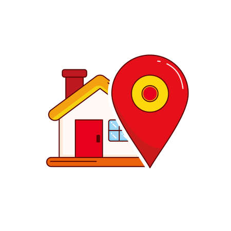 House with pin vector illustration on isolated background with red and orange color suitable for location icon Ilustracja