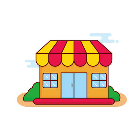 Shop vector illustration with colorful design isolated on white background. Shop cartoon illustration with cute design