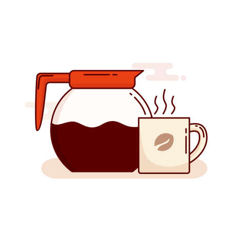 Coffee pot and mug with coffee vector illustration with cute simple design