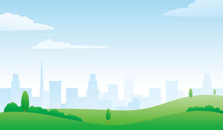 Meadow and city on the background with bright sky vector illustration suitable for environment theme background or wallpaper