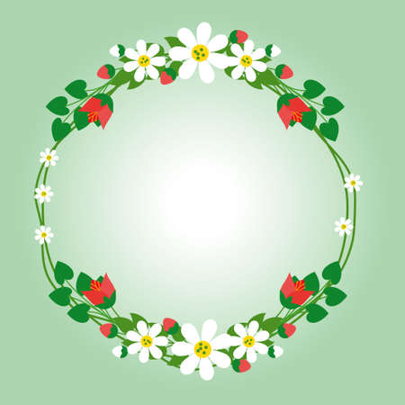 Flower wreath vector illustration with red and white color suitable for wedding invitation card or other graphic design with summer theme Ilustracja
