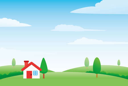 Nature landscape with house vector illustration, house on the hill vector illustration with bright sky and clouds