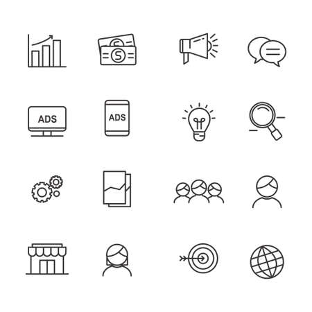 Set of marketing related icon line