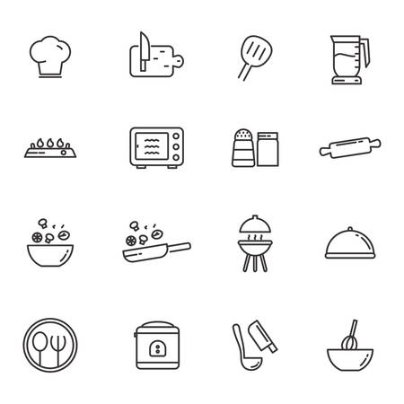 Set of kitchen related icon line