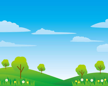 Field vector illustration with clouds, blue sky and trees