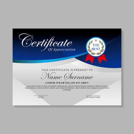 Blue and white certificate template design. Elegant certificate layout