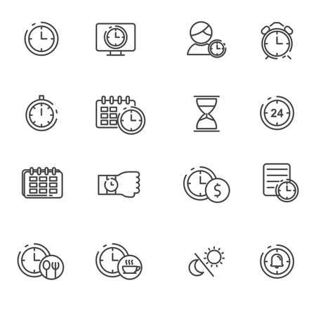 Time and management icon line. Clock vector illustration with simple line design