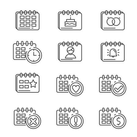 Set of calendar icon line. Calendar vector illustration with simple line design.
