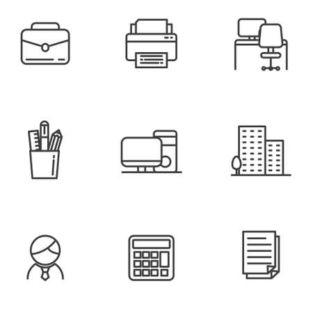 Set of office related icon line such as printer, desk and more
