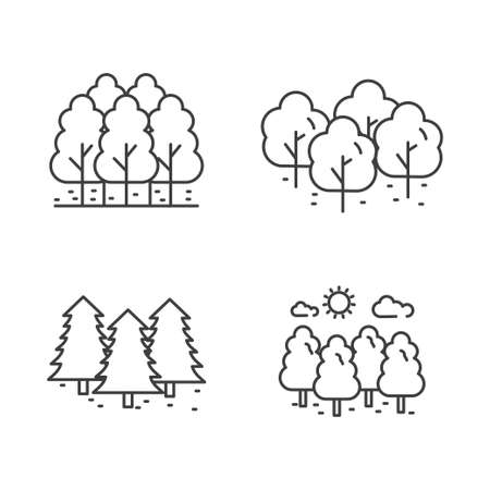 Set of forest icon line. Tree vector illustration with simple line design suitable for icon Ilustracja