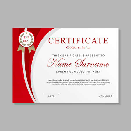Certificate template design with red and white color. Certificate layout with minimal design