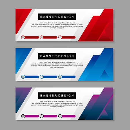 Banner template design with red and blue color. Modern banner template concept suitable for web.