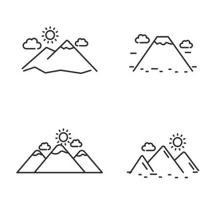 Set of mountain icon line, mountain vector illustration with simple line design. Stock Illustratie