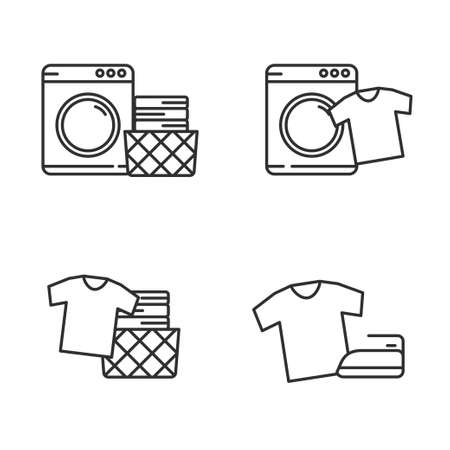 Set of laundry icon line. Laundry vector illustration with simple line design. Washing machine  vector.