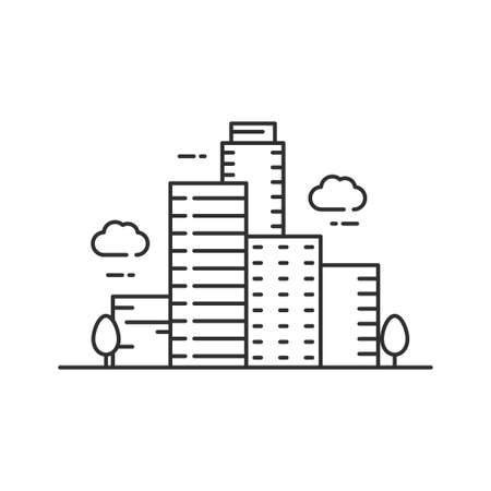 City icon line  design, city vector illustration, building icon with simple line design
