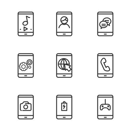 Set of smartphone related icon with line design. Smartphone vector illustration with simple line design.