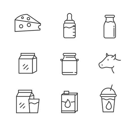 Set of milk related icon with line design. Milk and cheese vector illustration with simple line design.
