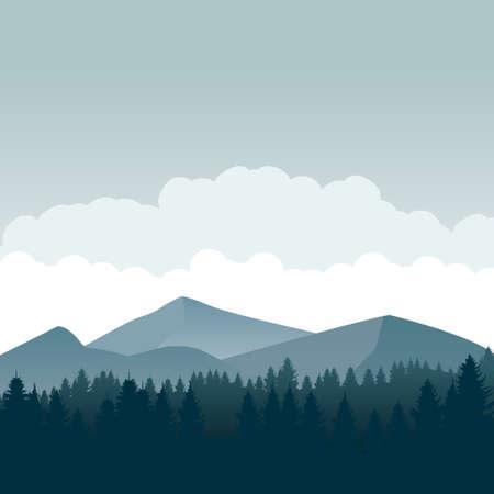 Ilustracja wektorowa sylwetka krajobraz natura. Góra tapeta wektor. Sylwetka drzew sosnowych