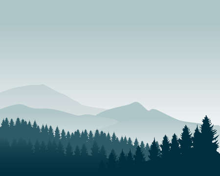 Nature landscape silhouette vector illustration. Mountain wallpaper vector. Pine trees silhouette Stock fotó - 129814245