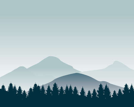 Nature landscape silhouette vector illustration. Mountain wallpaper vector. Pine trees silhouette Stock fotó - 129814246