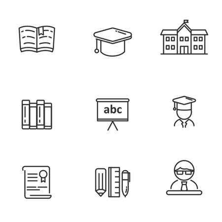 Set of education related icon line. School  related vector illustration with simple line design