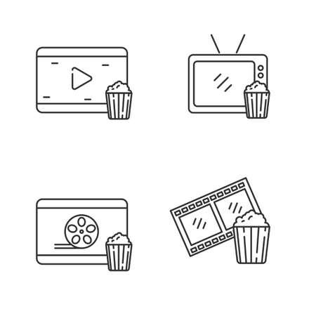 Set of watching cinema icon line. Tv and pop corn vector illustration Ilustracja
