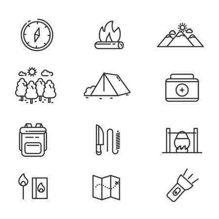 Set of camping related icon line. Camping related vector illustration with simple line design