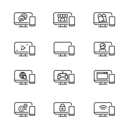 Set of computer and mobile phone icon line. Computer and mobile phone vector illustration with simple line design.