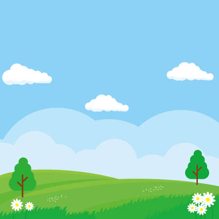 Nature landscape vector illustration. Field cartoon illustration suitable for kids theme background Stock Illustratie