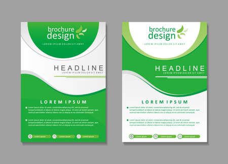 Green and white brochure template design with modern and minimalist design, suitable for cover design too