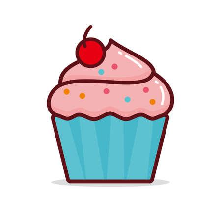 Ilustración de vector de cupcake aislado sobre fondo blanco, imágenes prediseñadas de cupcake