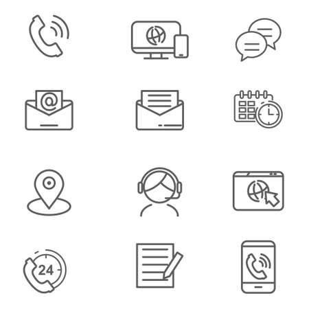 Set of contact us related icon such as phone, mail, chatting and more Ilustracja