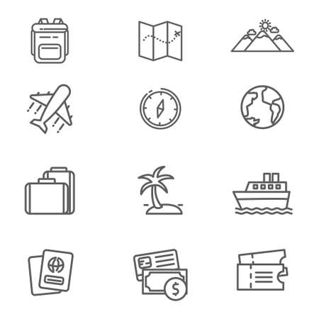 Set of travel related line icon. Travel related vector illustration with simple line design Stock fotó - 129814340