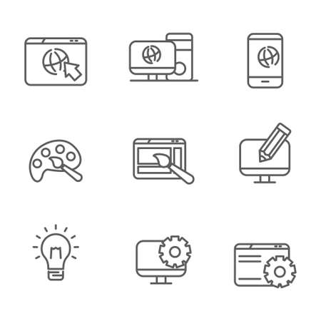 Set of web design related line icon Banque d'images - 129814339