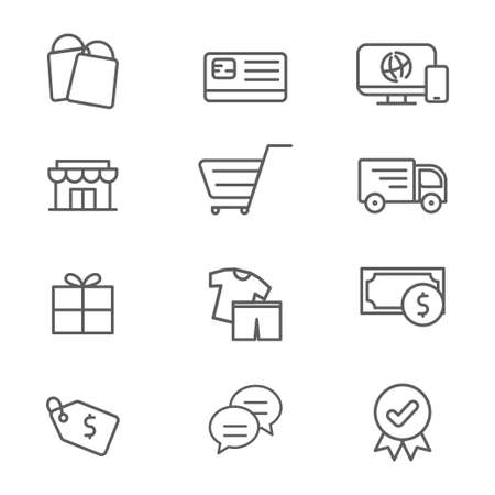 Set of e-commerce related icon such as, store, cart, delivery and more. Standard-Bild - 129814341
