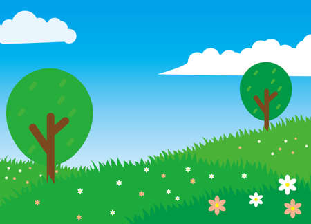 Nature landscape cartoon illustration green grass, flower, trees and blue sky suitable for kids background