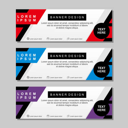 Banner template design with red, white, blue and purple color. Modern banner template with simple design Ilustracja
