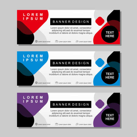 Banner template design with red, white, blue and purple color. Modern banner template with simple design Illustration