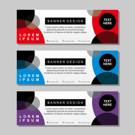 Banner template design with red, white, blue and purple color. Modern banner template with simple design Archivio Fotografico - 129814436