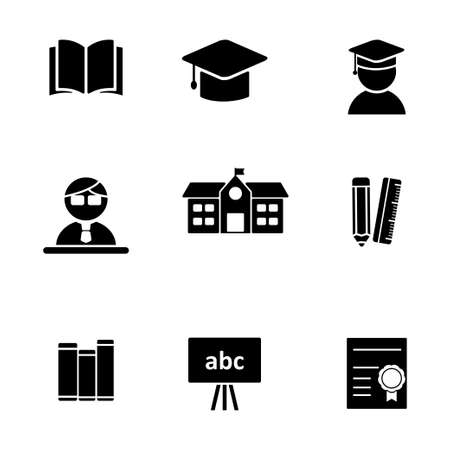 Set of education related icon isolated on white background Illusztráció