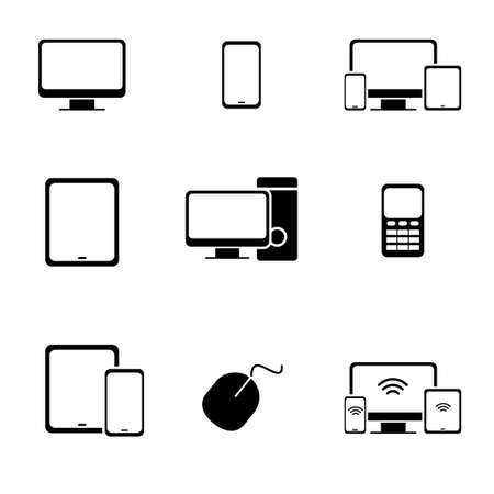 Set of computer and smartphone related icon. Computer and smartphone vector illustration with silhouette design